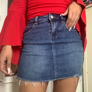 Sky and sparrow jean skirt with red stripe on side